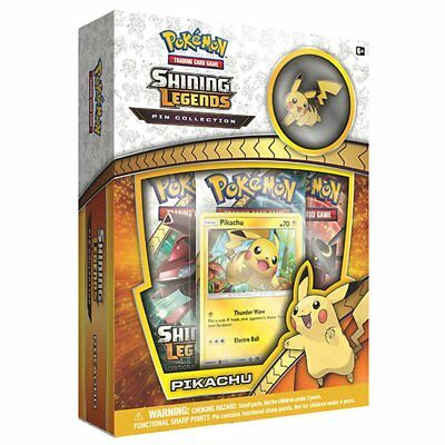 POKEMON TCG Shining Legends Pin Collection Pikachu w/ 3 Booster Packs