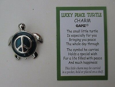 x LUCKY PEACE TURTLE CHARM miniature pocket figurine + card wish happiness ganz