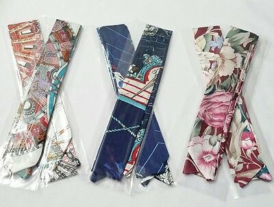 6 pcs Satin Twilly Scarf, Handbag Handle Protector, HeadBandeau, Wrist Wrap, Tie