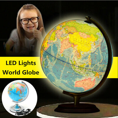 20cm World Globe Atlas Map With Rotate Stand Electric LED Light Educational Gift