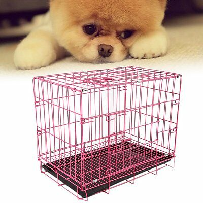 "20"" Small Dog Cage Pet Puppy Crate Folding Metal Training Travel Carrier Pink PI"