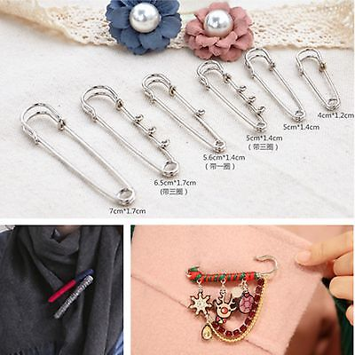 Silver Metal Durable Safety Brooch Pins 40mm-70mm Fastening Sewing Kilt Scarf