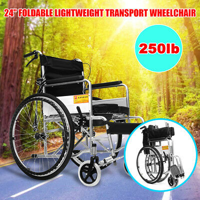 "24"" Floding Lightweight Transport Wheelchair Park Brakes Armrests Mobility Aid"