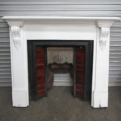 FIREPLACE MANTLE & CAST IRON INNER - WHITE TIMBER & COPPER CANOPY, 38m