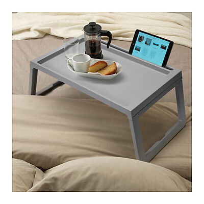IKEA KLIPSK Breakfast Food Serving Serve Bed Tray Table in Grey with iPad Holder