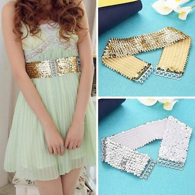 Women Lady Fashion Casual Elastic Stretch Shinning Sequin Waist Waistband Belt P