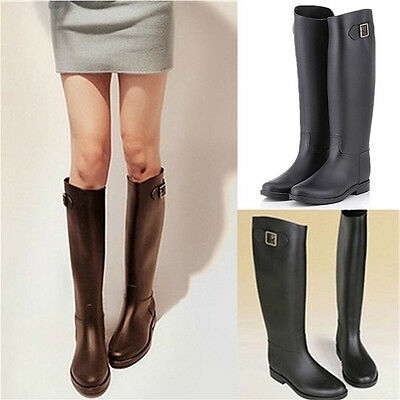 Women Flat Wellies Waterproof Rubber Knee High Mid Calf Rain Snow Boots Size 3-6