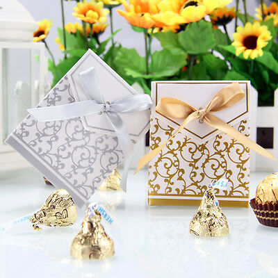 Ribbon Candy Boxes Wedding Party Sweet Bags Favours Favor Bag Anniversary 100pcs