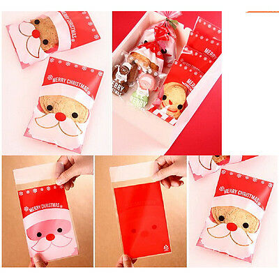 100Pcs Christmas Santa Cellophane Party Treat Candy Biscuits Gift Bags