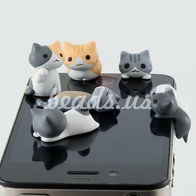 6Pcs Cheese Cat 3.5mm Anti Dust Earphone Jack Plug Stopper iPhone Cellphone DIY