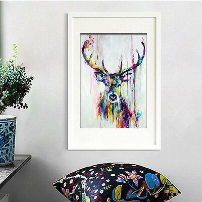Frameless Modern Abstract Oil Painting On Canvas Colorful Elk Huge Wall Decor