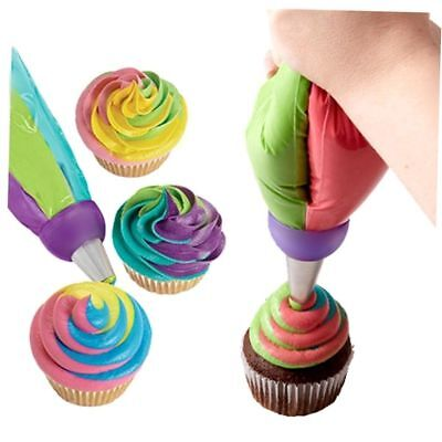 Durable 3-Color Icing Piping Nozzles Tip Pastry Bag Cake Sugarcraft Tool Set CU