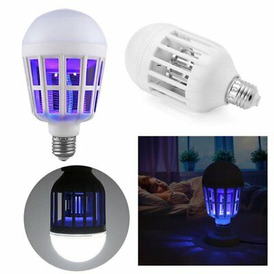LED Anti-Mosquito Bulb 15W 6500K Electronic Insect Fly Lure Kill Bulb New CU