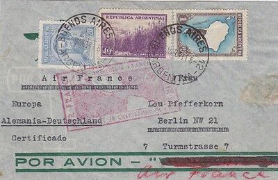Argentina-1938 Air France 1.60 Pesos Buenos Aires reg airmail cover to Germany