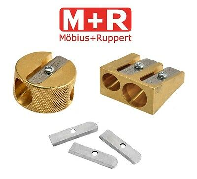 Solid Brass Heavy Duty Double Hole Pencil Sharpener & Replacement Blades