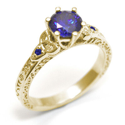 Trinity Knot Ring Sapphire 6 Claw 9ct Gold UK Hallmarked (SS286)
