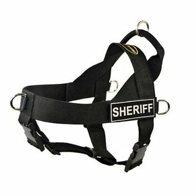 DT Universal No Pull Dog Harness, Sheriff, Black, Large - Fits Girth Size: 79cm