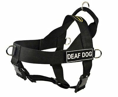 DT Universal No Pull Dog Harness, Deaf Dog, Black, X-Large - Fits Girth Size: