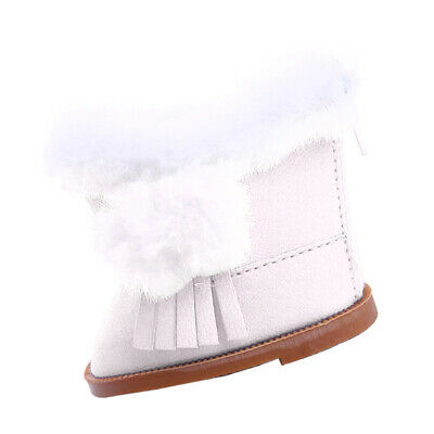 18'' Doll Flat Snow Boots Shoes for American Girl Our Generation Dolls White