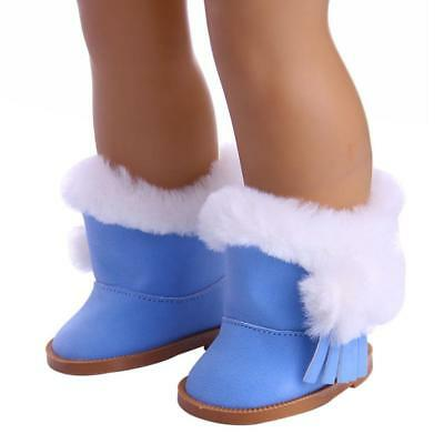 18'' Doll Flat Snow Boots Shoes for American Girl Our Generation Dolls Blue