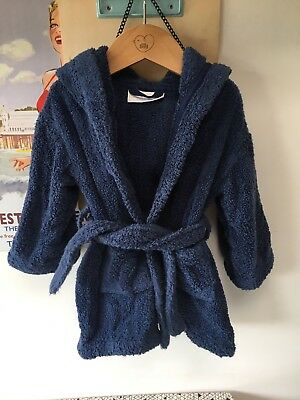 12-18 Month Navy Dressing Gown. The Little White Company. GUC. Fluffy Cotton.