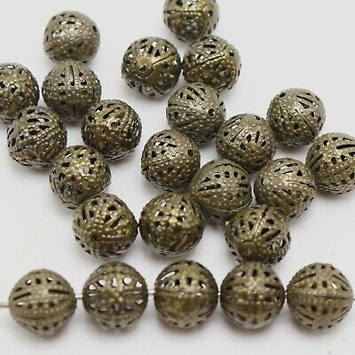 6mm Antique Brass Plated Beaded Rosary Round Ball Metal Eyepin Chain Q2 Feet