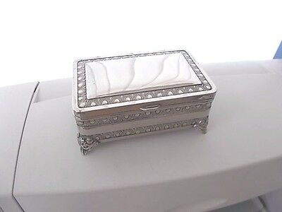 Vintage Silver Plated Oblong Trinket Jewellery Cufflinks Box With Hinged Lid