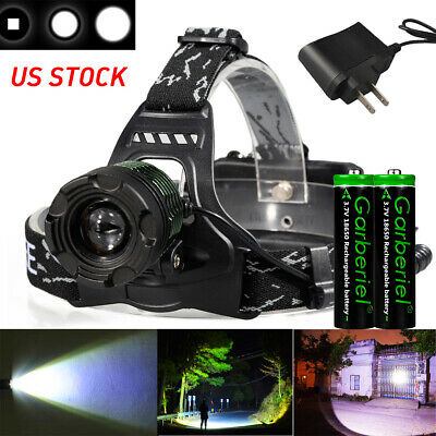 Tactical 90000LM Zoomable T6 LED Headlamp Focus Head Light Torch 18650+Charger