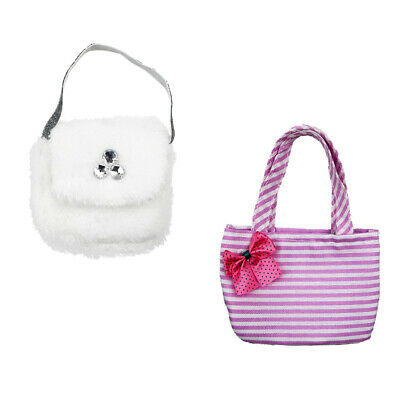 Handmade Pink Handbag + White Plush Bag for 18inch American Girl Doll Accs