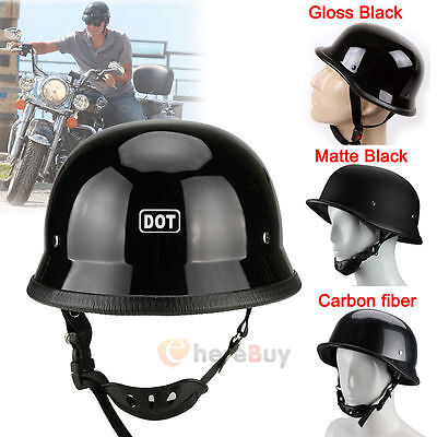 AHR DOT German Style Motorcycle Half Helmet Open Face Cruiser Chopper Biker Skull Cap Helmet Black M