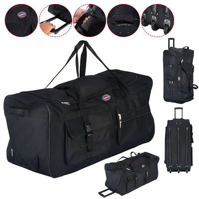 "Strong 36"" Rolling Wheeled Tote Duffle Bag Luggage Travel wheels Suitcase Black"