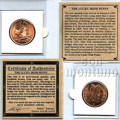 IRISH LUCKY PENNY - Large Half Dollar Sized Coin in Mini Album with Story & COA