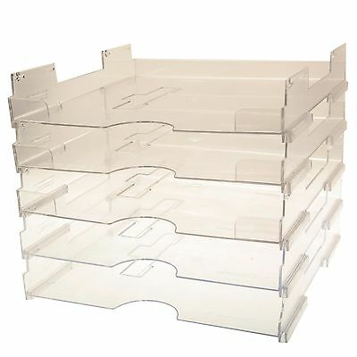 """Set of 5 Acrylic paper trays storage for 12"""" x 12"""" scrapbooking papers"""