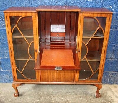 ~ Stunning ~Antique ~Side By Side Cabinet/ Writing Desk~ Ball in Claw Feet~VGC~
