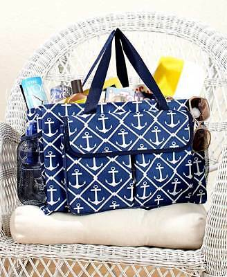 The Lakeside Collection Oversized Multi Pocket Utility Tote - Nautical