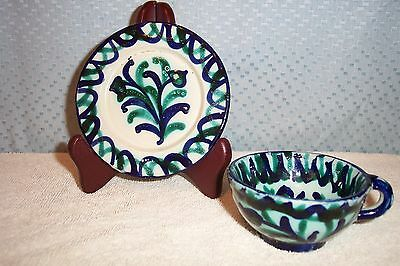 VINTAGE HAND PAINTED CUP & SAUCER from SEVILLA, SPAIN MINT
