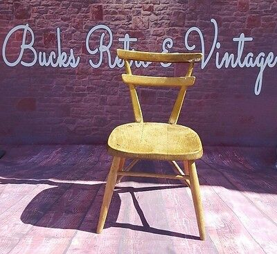 Vintage Retro Old Mid Century Kids Children's Ercol Seat Chair Yellow Dot