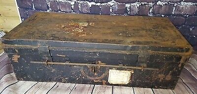 Antique Vintage Metal Lockable Tool Storage Box Steamer Trunk Travel Trunk Chest