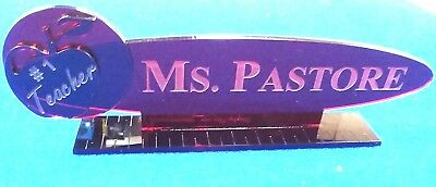 Personalized Acrylic Glass NAME PLATE BAR Desk Teacher Gift Free Shipping