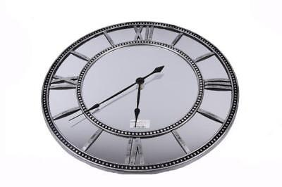 Large Vintage Silver Antique Mirrored Glass Roman Numerals Round Wall Clock 55 m