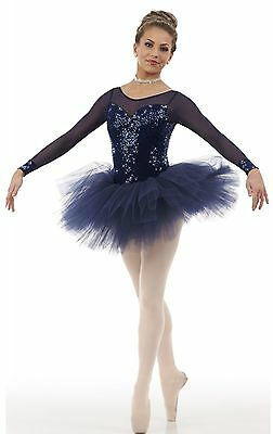 Noble Dance Costume Navy Ballet Tutu Glitter Mesh,Lined Sequin CM,CL,CXL,XXL