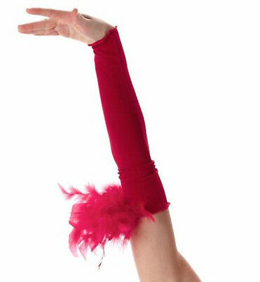 Mitts Only Dance Costume Red Velvet w/Feathers Jazz Tap Christmas Child Small