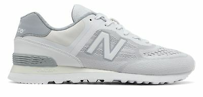 NEW BALANCE MEN'S 574 Re Engineered Shoes White with Silver