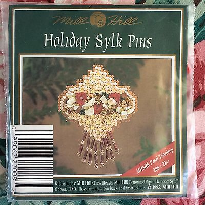 """Counted Glass Bead Ornament  KIT by Mill Hill :  """"Pearl Teardrop"""""""