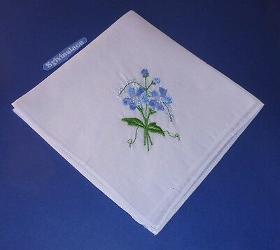 3  White  Embroidered  ladies Hankies  1 each of Pink  Blue & Lilac  27 x 27 cm