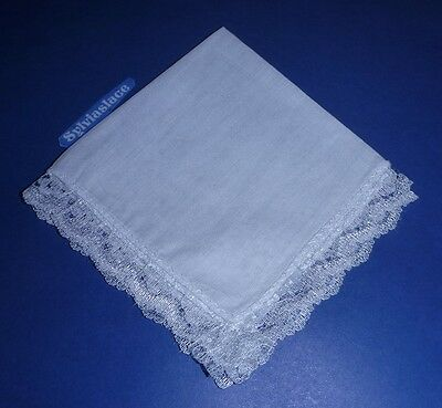 12   Pure  Cotton  Ladies  Hankies  Edged  With  Nylon  Lace        24 x 24  cm