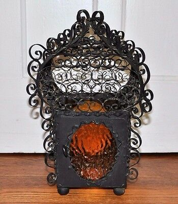 Vintage Wrought Iron Swag Chandelier Light Spanish Orange Glass Black Restore