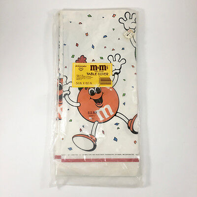 "NOS Ambassador M&M's Party Goods Paper Table Cover 54 x 102"" Hallmark 1988"