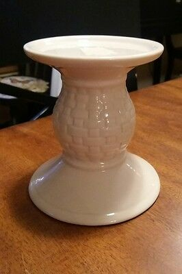 Longaberger Pottery Ivory Woven Traditions Pillar Candle Holder