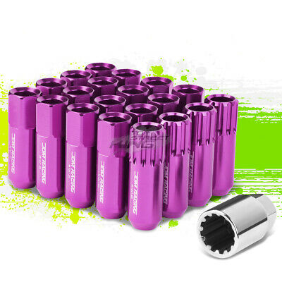 Jdm Aluminum Purple M12X1.25 20Mm Od Open-End 60Mm Lug Nuts 20Pcs/set+Adapter